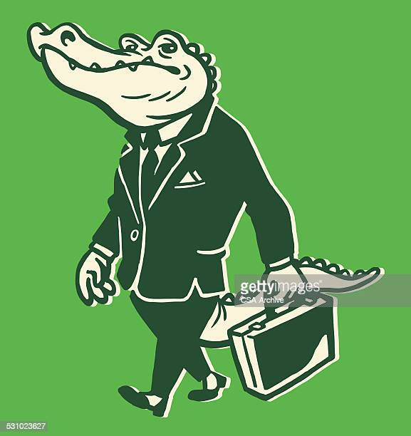 alligator wearing suit - alligator stock illustrations, clip art, cartoons, & icons