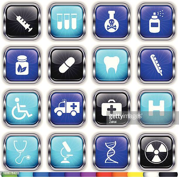 alloy super glossy medical web buttons on 11 different colors - blood test stock illustrations, clip art, cartoons, & icons