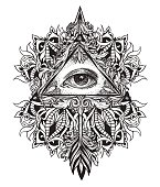 All-seeing eye symbol mystical science of alchemy and Masons