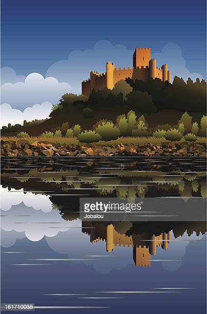 almourol castle in portugal - castle stock illustrations, clip art, cartoons, & icons