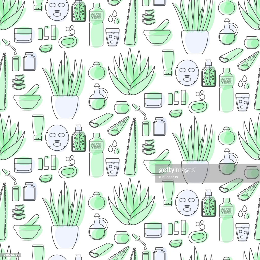 Aloe vera cosmetic products flat seamless pattern