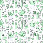 Aloe vera cosmetic products flat seamless pattern