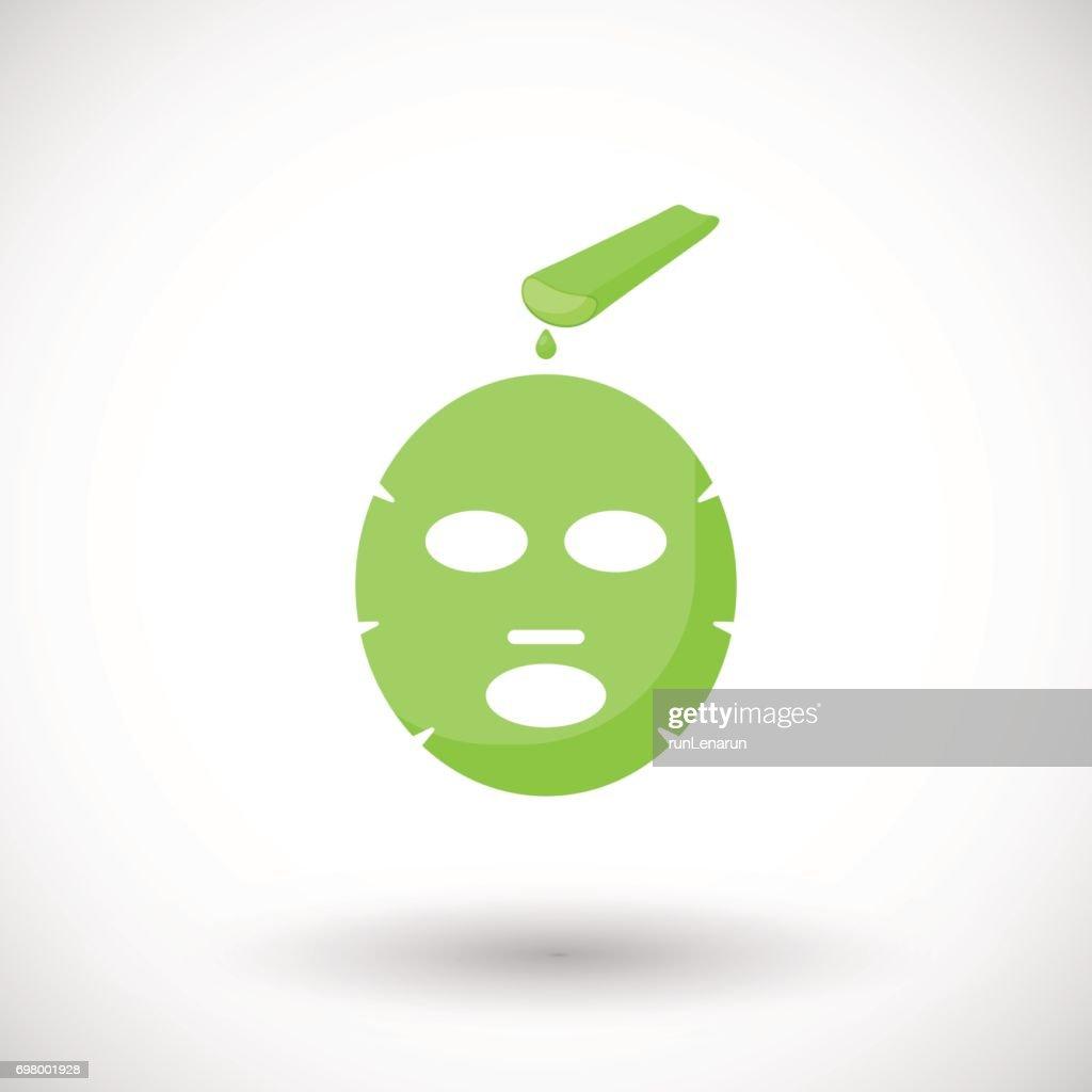 Aloe vera facial mask vector flat icon