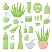 Aloe vera flat vector icons set