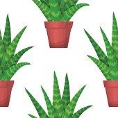 Aloe Vera - floral seamless pattern