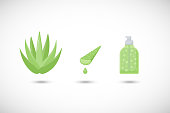 Aloe vera gel vector flat icons set