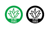 Aloe Vera green leaf label for natural organic product package. Isolated Aloe Vera leaf circle icon sign for cosmetic or moisturizer cream and skincare lotion packaging design template