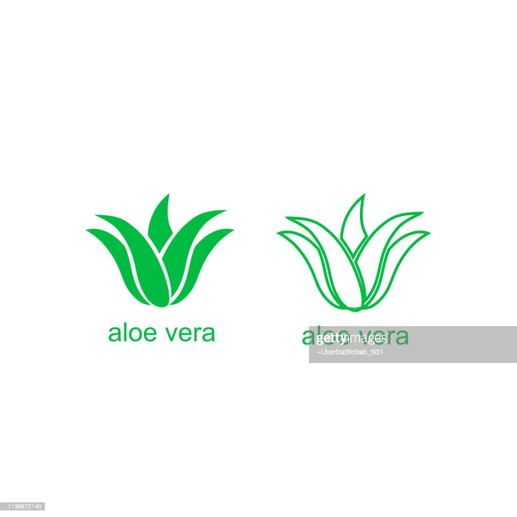 Aloe Vera green logo icon for natural organic product package label. Isolated Aloe Vera leaf sign for cosmetic or moisturizer cream packaging design template