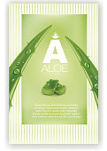 Aloe vera green shiny sparkles - Illustration