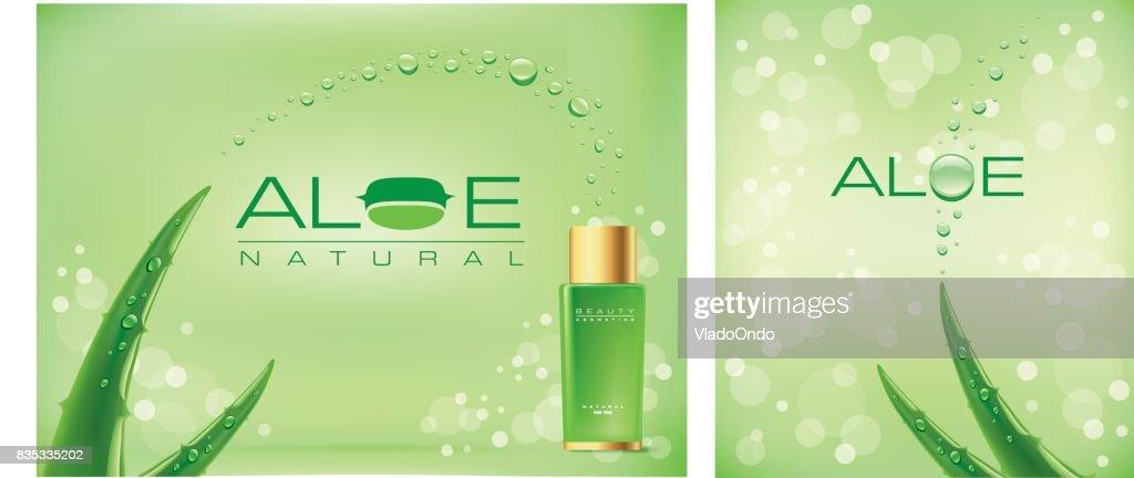 Aloe vera green shiny sparkles