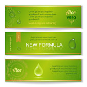 Aloe vera horizontal banners set with drops elements on green