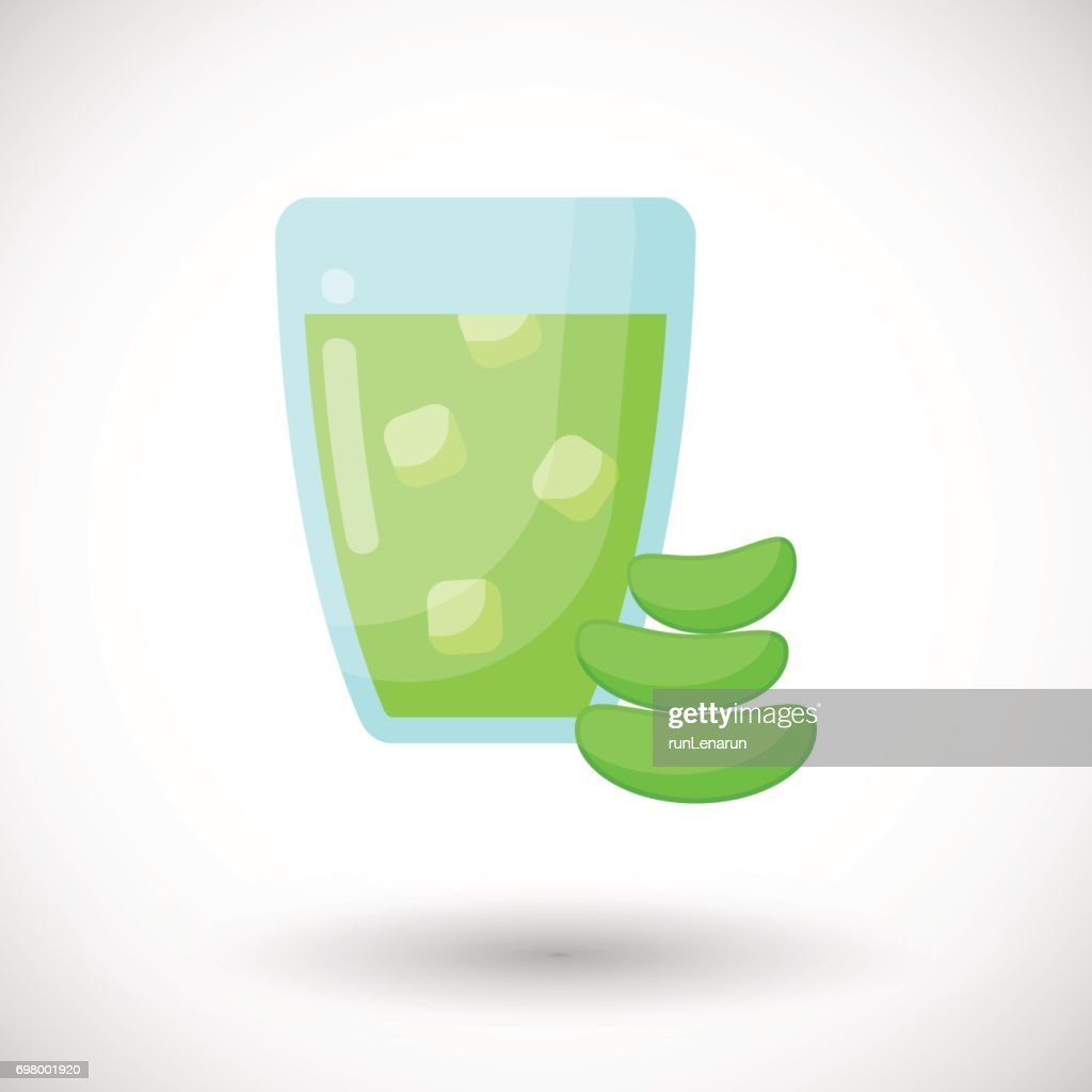 Aloe vera juice vector flat icon