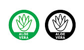 Aloe Vera label or green leaf icon for natural organic moisturizing gel and lotion. Aloe Vera leaf circle sign for skincare cosmetic design