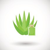 Aloe vera plant cosmetics vector flat icon