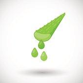 Aloe vera plant with juice drops vector flat icon