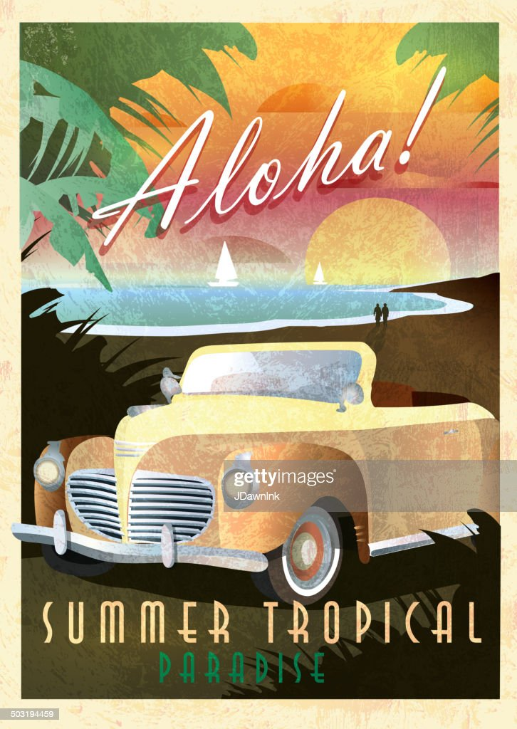 Aloha Art Deco style Paradise classic convertible car poster design