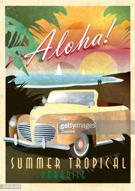 Aloha Art Deco style Paradise classic convertible car poster design