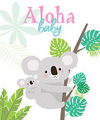 Aloha baby card for Baby Shower party or Birthday with fun koalas
