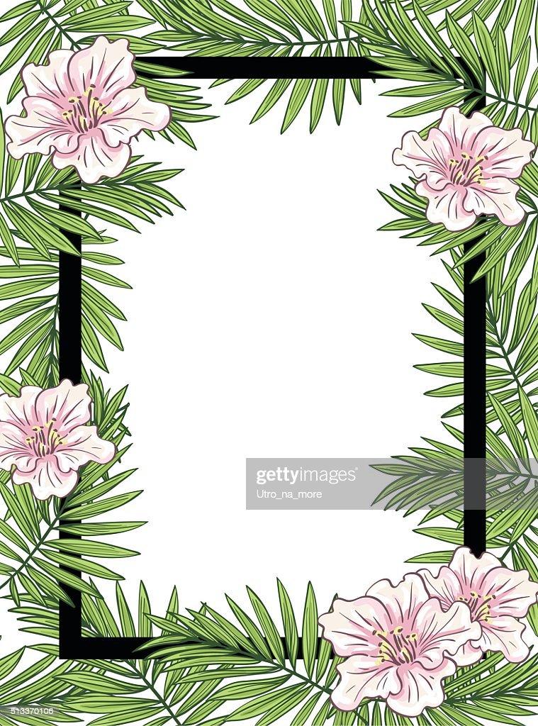 Aloha Hawaii illustration, palm leaves with flowers.