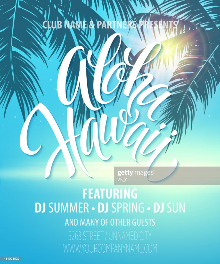 Aloha Hawaii  Summer Beach Party Poster. Vector illustration