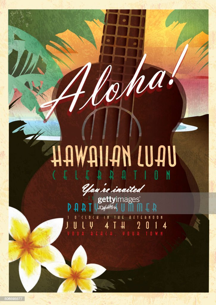 Aloha Hawaiian Luau invitation design template with abstract Ukulele