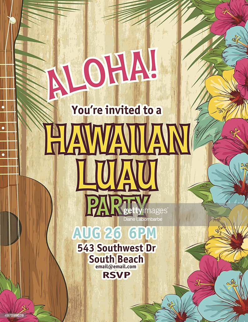Aloha Hawaiian Party Invitation Vector Art | Getty Images