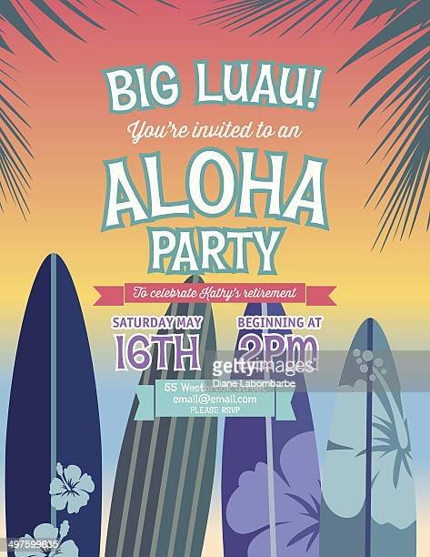 illustrations, cliparts, dessins animés et icônes de aloha de hawaï fête invitation - planche de surf