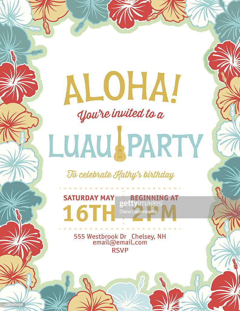 Aloha Hawaiian Party Invitation