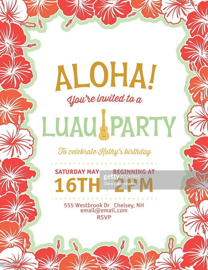 Aloha Hawaiian Party Invitation Vector Art | Getty Images