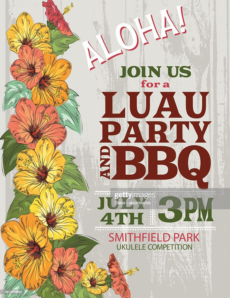 Aloha Hawaiian Party Invitation With Hibiscus Flowers And Palm Leaves