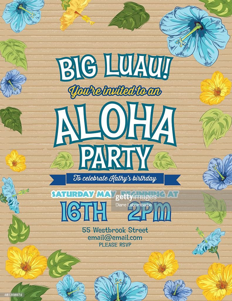 Aloha Hawaiian Party Invitation With Hibiscus Flowers And Palm ...