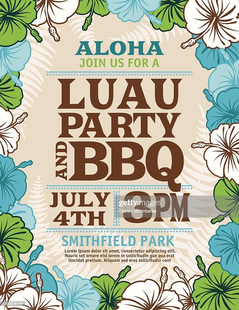 aloha hawaiian party invitation with hibiscus flowers and