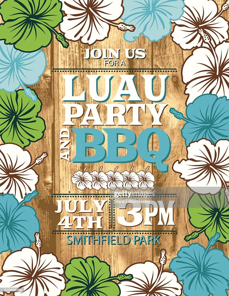 Aloha Hawaiian Party Invitation With Hibiscus Flowers And Wood ...