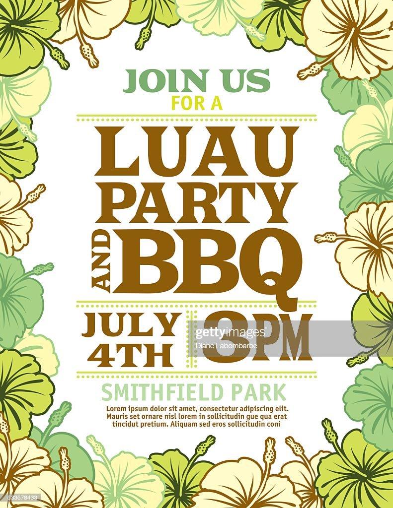 aloha hawaiian party invitation with hibiscus flowers vector art
