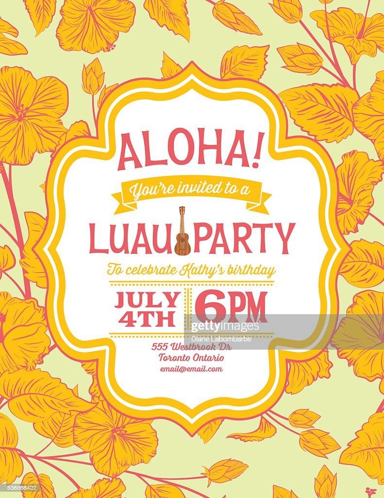 Aloha Hawaiian Party Invitation With Hibiscus Flowers Vector Art ...