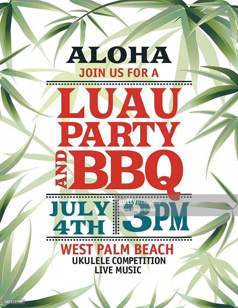 Aloha Hawaiian Party Invitation With Leaves And A Red Text Vector ...