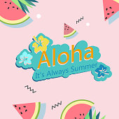 Aloha It's Alway Summer Watermelon Flower Pink Background Vector Image