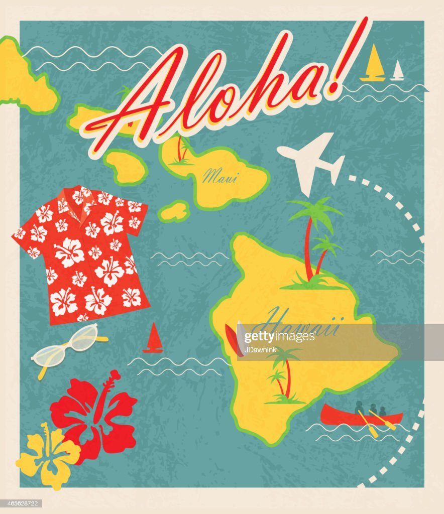Aloha Retro Hawaiian Luau Map Design Travel Theme Invitation Design
