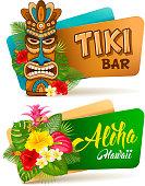 Aloha Tiki bar banners set