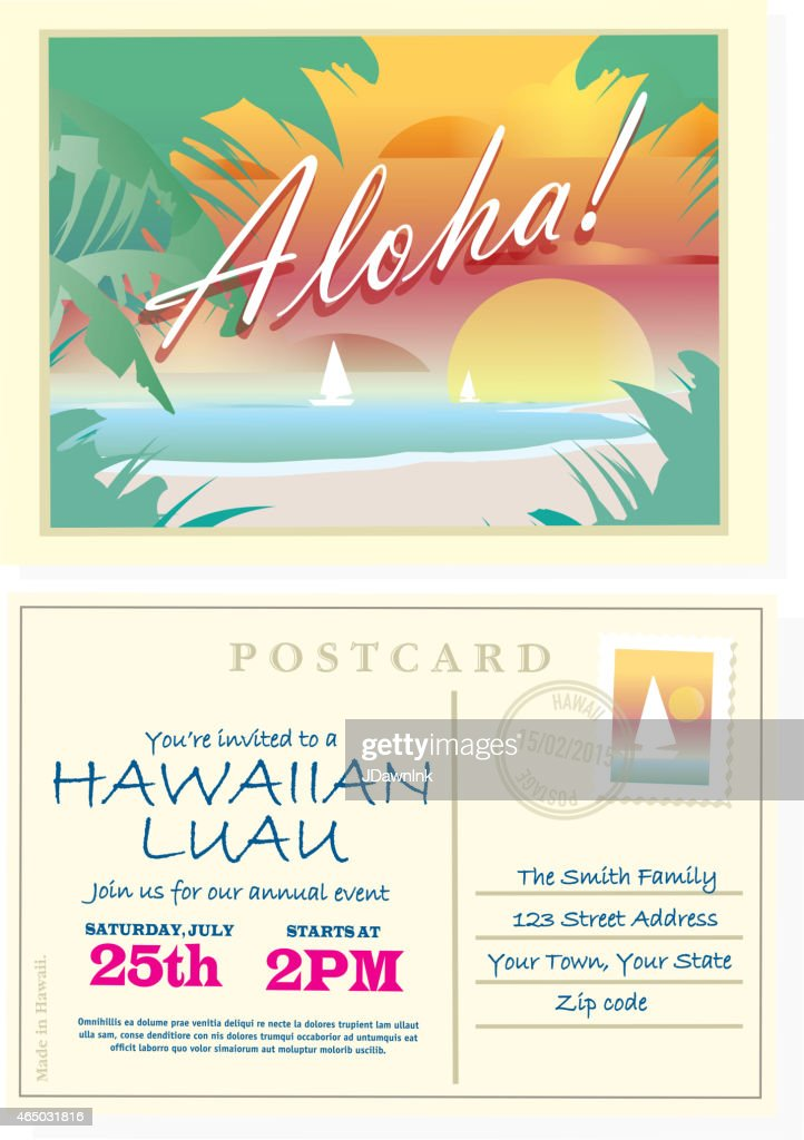 Aloha Vintage Postcard Hawaiian Luau Invitation Design Template