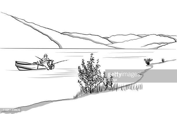 alleinfischen auf dem boot - clipart stock-grafiken, -clipart, -cartoons und -symbole