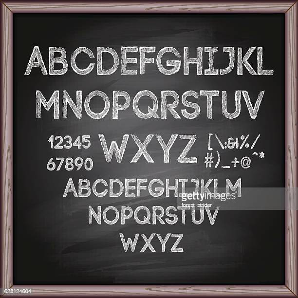 Alphabet and letters on chalkboard