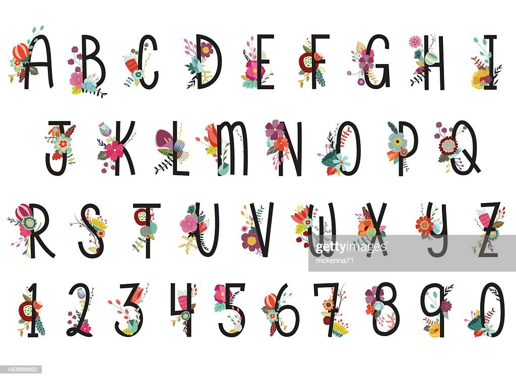 Alphabet and Numbers Floral Vector Set