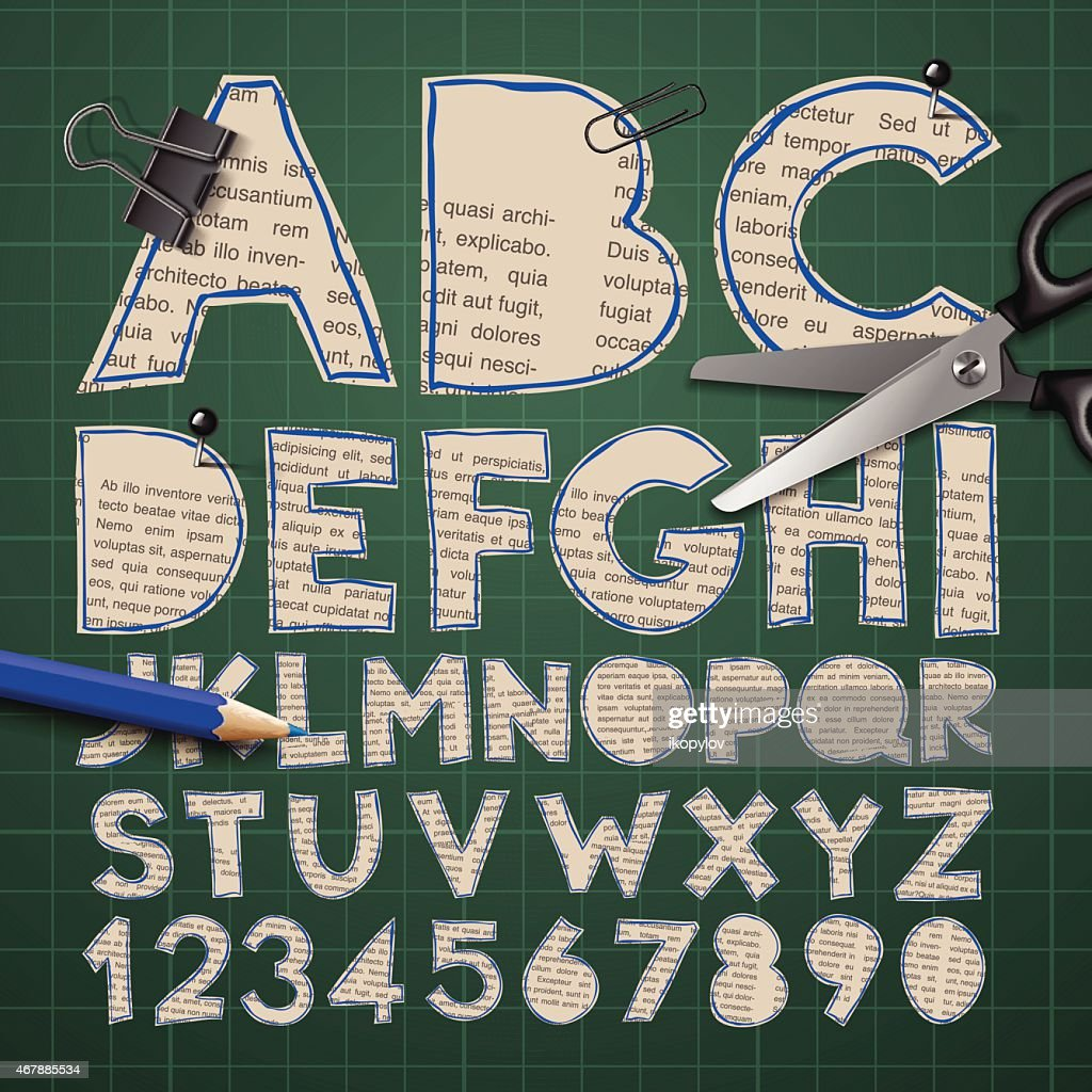 Alphabet And Numbers Paper Craft Design Cut Out By Scissors Vector