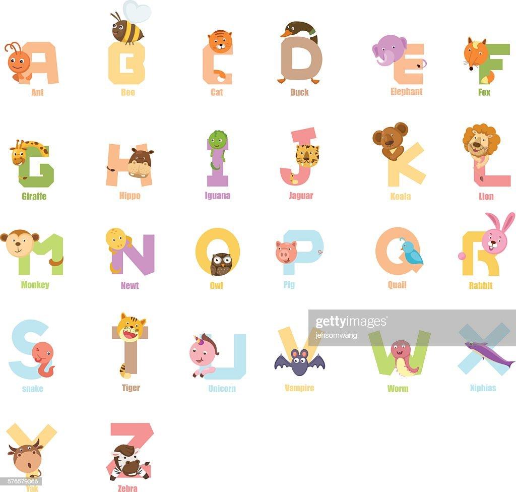 Alphabet animal a to z,vector