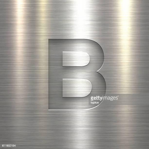 illustrazioni stock, clip art, cartoni animati e icone di tendenza di alphabet b design - lettera su sfondo texture metallica - lettera b