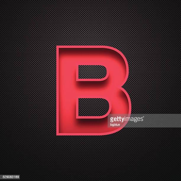 stockillustraties, clipart, cartoons en iconen met alphabet b design - red letter on carbon fiber background - letter b