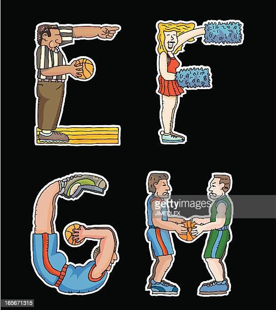 alphabet basketball font - e league stock illustrations