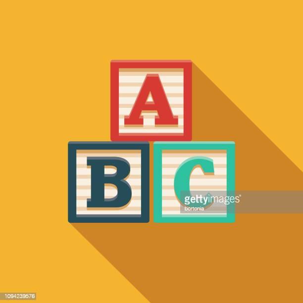 alphabet blocks children's toy icon - block shape stock illustrations