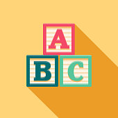 Alphabet Blocks Flat Design Baby Icon